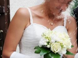 Piękna suknia ślubna ECRU włoska organza