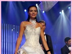 Piękna suknia ślubna Galaxy Farage dla niższej dziewczyny, rozmiar 34/36