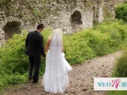 Piękna suknia ślubna i welon z kryształkami svarovskiego r. 40 TANIO!
