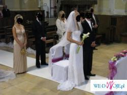piękna suknia ślubna koronkowa biała + gratisy