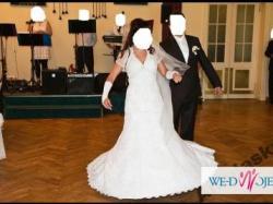 Piękna suknia ślubna, model Demetrios,tren,kryształki, 38,40, 164,Tychy