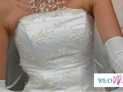 Piękna suknia ślubna r.36/38 biała z dod. ecru. Warto!!!