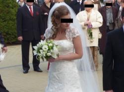 Piękna suknia ślubna Sincerity 3462 r.38 ecru