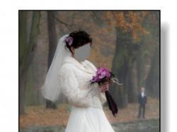 Piękna suknia ślubna w kolorze ecru + dodatki