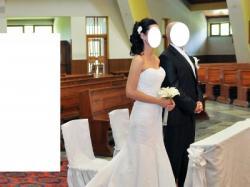 Piękna suknia ślubna z trenem r.36