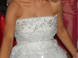 Piekna suknia ślubna zdobiony gorset + Bolerko i buty GraTiS