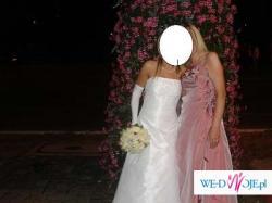 Piękna suknia z tafty, odkryte plecy, kwiaty, może być dla Panny Młodej