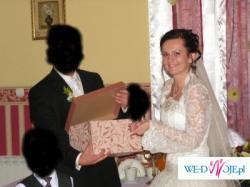 Piekna suknie ślubna Sposa: Manhattan + bolerko, welon, poduszka, wachlarz