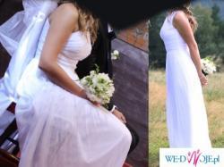 Piękna zwiewna biała suknia rozm. 36, 38 empire szyfon