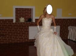PILNE ! Sliczna suknia ślubna ecru + kamizelke slubna