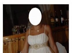 Plisowana suknia ślubna w stylu empire krótka i długa