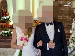 """Projektowana suknia ślubna kolor Ivory """"litera A"""" (rozm. 38)"""