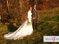 Przepiękna francuska suknia ślubna rozm 38 ecru