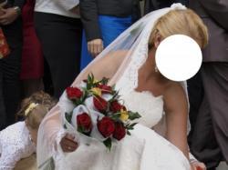 Przepiękna koronkowa suknia ślubna WHITE ONE 176 + 2 mwelon