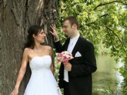 Przepiękna,muślinowa suknia ślubna Biancaneve z krysztalkami SWAROVSKIEGO(36/38)