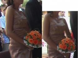 Przepiękna, satynowa suknia wieczorowa z francuską koronką.