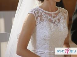Przepiękna suknia ślubna koronkowe plecy r. 36 / 38