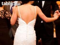 """Przepiękna suknia ślubna, typ """"rybka"""", z hiszpańskiej koronki. Rozmiar 34."""