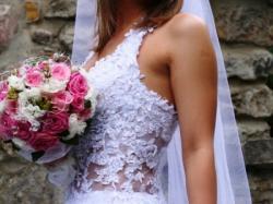 Przepiękna suknia z koronki francuskiej!!!