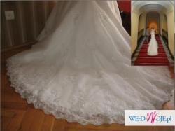 Przepięknie ozdobiona suknia ślubna rybka, Blue by Enzonii, USA 36, Ivory