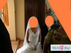 Prześliczna śnieżnobiała suknia ślubna r. 38 z koronką!