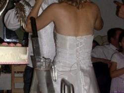 Prześliczna, śnieżnobiała suknia ślubna, TANIO!!!!