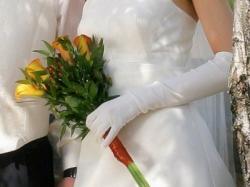 rękawiczki ślubne, długie, ecri z palcami