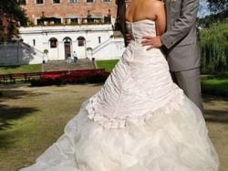 retro suknia ślubna oryginalna piękna ecru ecri