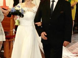 Romantyczna suknia ślubna, rozmiar 34, długi rękaw, koronka