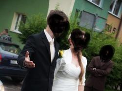 """Romantyczna suknia ślubna w kształcie """"A"""" (większa)"""