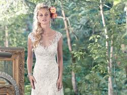 Rustykalna, boho suknia ślubna Tami Maggie Sottero, r. 34/36 (XS/S)