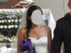 Satynowa suknia ślubna Oleg Cassini z Nowego Jorku