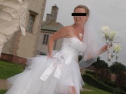 Seksowna suknia ślubna - krótki przód, długi tył