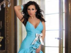Sexi Niebieska Sukienka Caprice Livia Corsetti + stringi roz. L