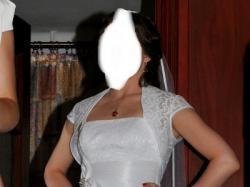 Skromna, koronkowa suknia ślubna Agnes 10392 biała, bez koła