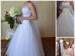 śliczna biała  sukienka ślubna w idealnym stanie