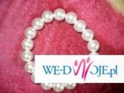 Śliczna bransoletka z białych perełek !!