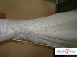Śliczna sukienka!!Jak nowa!! Ecru i perełki!!