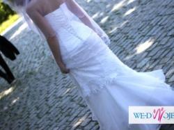 Śliczna suknia, biała, model syrena - dopasowana + bolerko, welon i halka