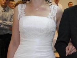 Sliczna suknia Gala/Danalea, biała tafta, rozm.40, 174cm.