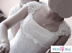 Śliczna suknia- KORONKOWA rybka lilea perle!