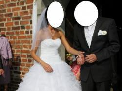 Śliczna suknia ślubna, falbany, rozmiar 36