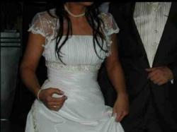 Śliczna suknia ślubna, kolor ecru, rozmiar 36-38