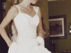 Śliczna suknia ślubna Maggie Sottero z jedwabnego szyfonu
