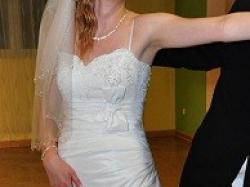 Śliczna suknia ślubna na bardzo wysoką dziewczynę !! rozm 38/40