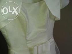 śliczna suknia ślubna w groszki ecre