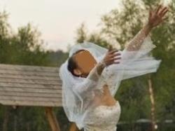 śliczna suknia ślubna z bolerkiem + welon + butki + dodatki