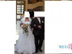 Śliczna suknia ślubna z trenem rozmiar 44-48