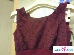 Śliwkowa (bordowa) długa suknia...