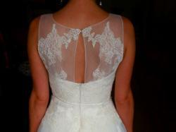 #Ślubna ecru tiulowa 36/38 z koronkowym gorsetem#